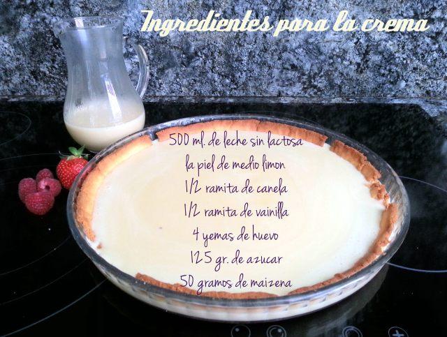 Ingredientes crema pastelera sin lactosa